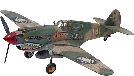 plastic airplane model,model airplane,P40B Tiger Shark Aircraft -- Plastic Model Airplane Kit -- 1/48 Scale -- #855209